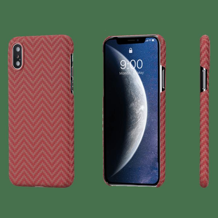 Pitaka-MagEZ-Case-tok-FeketeNarancs-Heeringbone-Apple-iPhone-Xs-KI8007XS